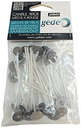 Pebeo キャンドル用芯 キャンドル用座金付き芯8cmx25本
