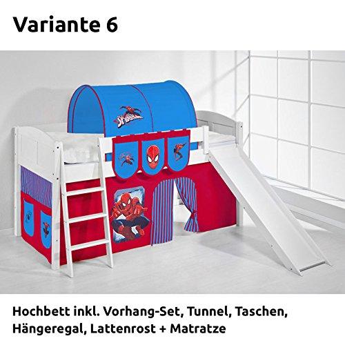Hochbett Spielbett IDA Spiderman, mit Rutsche und Vorhang, weiß, Variante 6 günstig kaufen