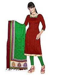 Lookslady Printed Maroon Khadi Silk Dress Material