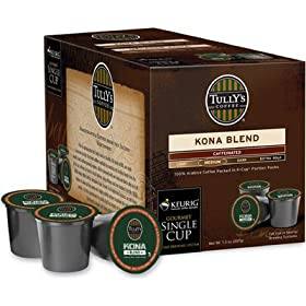 Tully's Kona Blend Caffeinated Coffee for Keurig Brewing Systems - 108 K-Cups