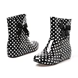 Women's Sweet Riding Rain and Garden Short Black Boots with Bow Polka Dot Print 8.5 B (M) US