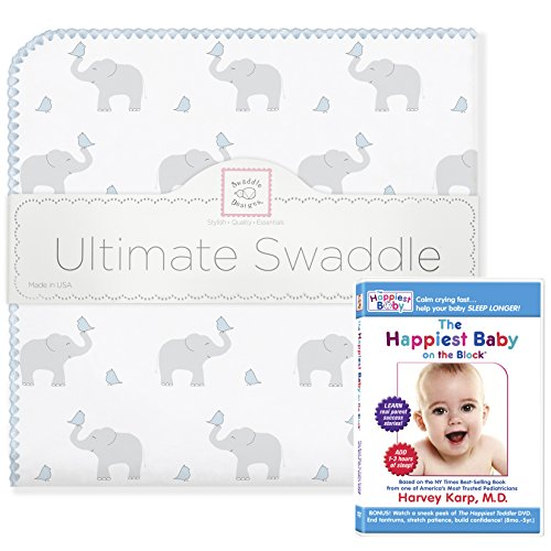 SwaddleDesigns Ultimate Swaddle Blanket Plus The Happiest Baby DVD Bundle, Elephant & Chickies, Pastel Blue