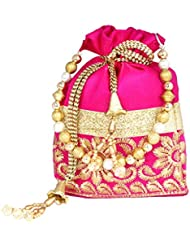 PrettyKrafts Fashionable Pink & Golden Color Velvet Accessories Potli Bag , Hand Bag For Womens , Girls