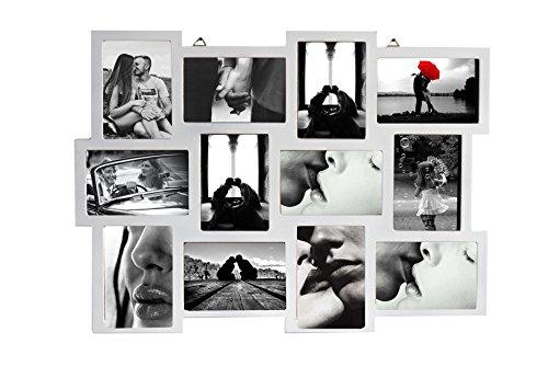 Rebecca Srl Portafoto multiplo Cornice Mosaico Quadro 12 Foto Legno Bianco Design Retro Camera Living (Cod. 0-1025)