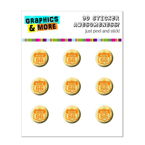 Graphics and More Route 66 Vintage Home Button Stickers Fits Apple iPhone 4/4S/5/5C/5S, iPad, iPod Touch - Non-Retail Packaging - Clear