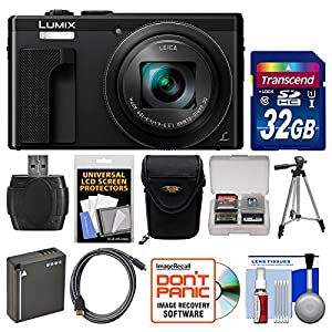 Panasonic Lumix DMC-ZS60 4K Wi-Fi Digital Camera with 32GB Card + Case + Battery + Tripod + HDMI Cable + Kit