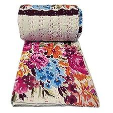 Blanco Kantha Estilo Tradicional Gudri Floral Print Tamaño Queen Quilt Bed Spread 107 X 80