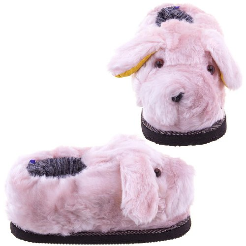 Cheap Pink Fuzzy Dog Slippers for Women (B0096UBKAO)