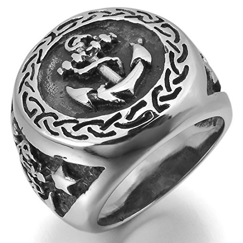 Men'S Stainless Steel Ring Silver Black Pentagram Pentacle Anchor Nautical Signet Vintage Size10