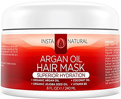 Argan Oil Hair Mask - Best Soft & Silky Hair Conditioner Treatment - Organic Argan Oil, Organic Jojoba Oil, Coconut Oil, Vitamin B5 & Green Tea - Provides Deep Moisture - InstaNatural - 8 OZ