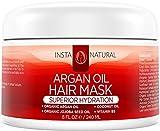 InstaNatural Maschera per Capelli all'Olio d'Argan - Il Migliore Trattamento Idratante per Capelli Soffici e Setosi - Con Olio d'Argan Biologico, Olio di Jojoba Biologico, Olio di Cocco, Vitamina B5 e Tè Verde - Nutre in Profondità - 8 OZ