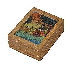Marubhumi Painted Meera With hiran Wooden Jewellery Box Coin Box Handmade Box