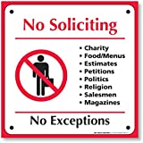 "My Sign Center 4 Pack Self Adhesive Vinyl No Soliciting Decal Sticker ""No Soliciting Sign"", 6"" X 6"" (See Description How to Apply)"