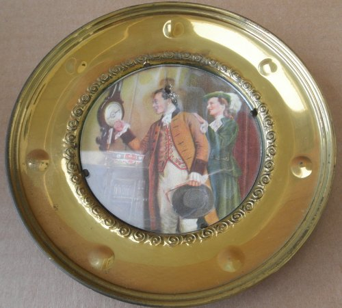 Decorative Round Wall Picture Plate - Colonial Man and Woman in Picture . Made in England Solid Brass
