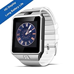 Smart Watch,SHONCO Bluetooth SmartWatch Wristwatch DZ09 Sync to Samsung S5 / Note 2 / 3 / 4,Nexus 6,HTC,Sony,HuaWei and Other Android Smartphones (White)