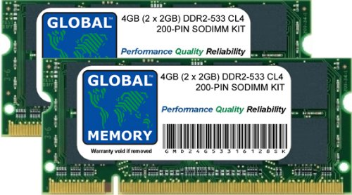 4GB (2 x 2GB) DDR2 533MHz PC2-4200 200-PIN SODIMM MEMORY RAM KIT FOR LAPTOPS/NOTEBOOKS