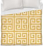 Thumbprintz Duvet Cover, King, Yellow Greek Key