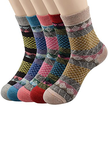 Century Star Winter Classic Outdoor Cotton Wool Knit Casual Crew Socks 5 Pack Grid