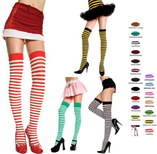 Quality Fun Narrow Stripes Thigh High Stockings (3 Pack Sets)