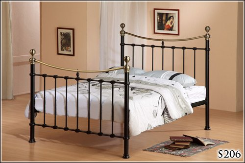BRAND NEW 5ft BLACK METAL KING SIZE ANTIQUE BRASS BED FRAME