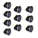 10PC New 16A 12V Round Rocker Toggle Switch Blue LED SPST For All