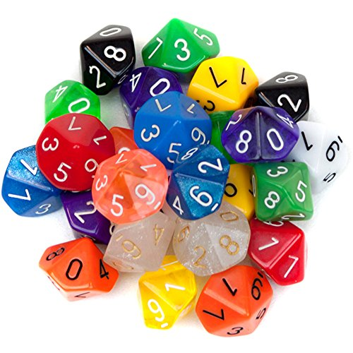 Cheap 25 Pack of Random D10 Polyhedral Dice in Multiple Colors by Wiz Dice