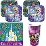 Disney Frozen Party Supplies Pack Including Plates, Cups and Napkins for 8 Guests