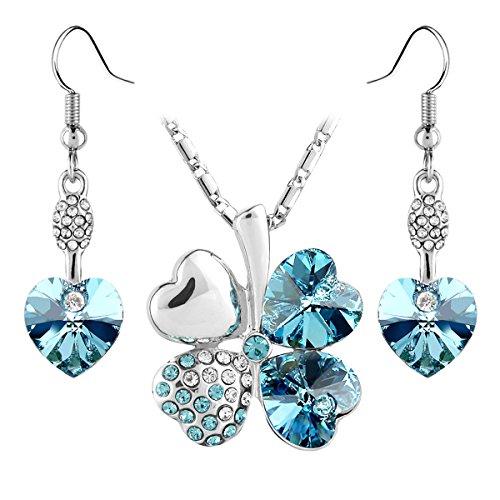 Le Premium® - Parure di orecchini pendenti e collana con pendente a quadrifoglio formato da cuori in cristallo Swarovski e aquamarina, placcato oro bianco