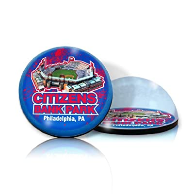 "MLB Philadelphia PhilliesCitizens Bank ballpark in 2"" crystal Magnetized paperweight with Colored Window Gift Box"