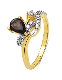 1.70 Grams Smoky Topaz & White Cubic Zirconia Gold Plated Brass Ring
