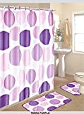 BH Home 15 Piece Fabulous Bathroom Set. 1 Bath rug 1 Contour Mat 1 Shower Curtain 12 Piece Matching Fabric Shower Curtain Hooks. (Terra Purple)