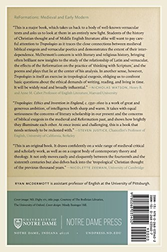 Tropologies: Ethics and Invention in England, c.1350-1600 (Reformations: Medieval and Early Modern)