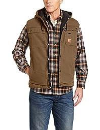 Carhartt Men\'s Sandstone Hooded Multi Pocket Vest Sherpa Lined,Frontier Brown  (Closeout),Large