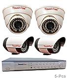 TouchTec-4-Channel-D1-DVR-+-2-Dome-IR-+-2-Bullet-800-TVL-3.6mm-Lens-CCTV-Camera(5Pcs)