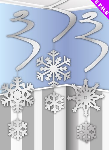 Pack Of 6 Hanging Snowflake Swirl Decorations For Frozen Themed Parties