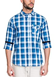 Zovi Cotton Slim Fit Casual White and Blue Checkered Shirt with Contrast Inner Sleeves(11925300801_Medium)