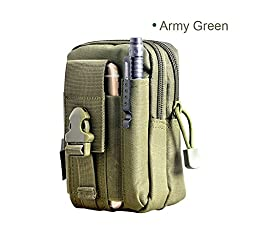 Deli Portable Tactical Waist Bag for Outdoor Sports - 1000D Waterproof CORDURA Fabric Casual Military Waist Pack Purse Pouch Mobile Phone Case for iPhone 6/6 Plus Samsung Note 2/3/4 Army Green