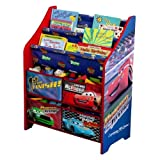 Delta Children Character Book and Toy Storage Organizer - 4 Drawers & Fixed Shelves (Cars)