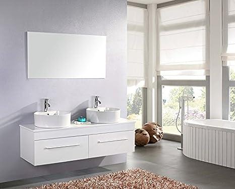 MOBILE BAGNO RONDINE arredo bagno arredobagno 150 cm bianco laccato mobile + lavandini + specchio + 2 miscelatori completo moderno IL PIU VENDUTO
