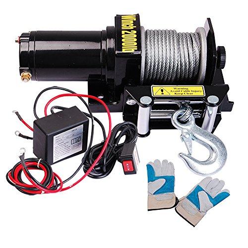 Yescom-2000-lb-09HP-Electric-Recovery-Winch-Free-Gloves-ATV-UTV-Jeep-Trailer-Truck-12V