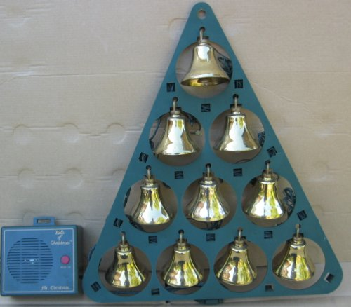 Vintage Bells of Christmas Lighted Musical Bells - 10 Brass Bells Play 15 Christmas Songs in 4 Part Harmony