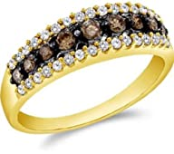 0.5 cttw 10k Yellow Gold Cognac Diamond Chocolate Brown and White Diamond Anniversary Wedding Band…