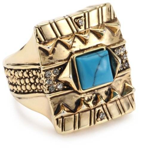 House of Harlow 1960 Gold-Plated Cushion Cocktail Ring with Turquoise-Color Stone, Size 8