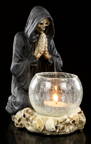 Nemesis Now Reapers Prayer Candle Holder Porta candela nero/bianco