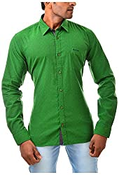 Casinova Men's Cotton Casual Shirt (2016_B-Small, Green, Small)