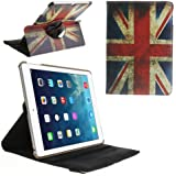 [A4E] Schutzhülle, Hülle passend für Apple iPad Air (iPad 5), Kunstleder Case Zubehör Tasche, mit Standfuß und SmartCover - Funktion, 360° drehbar, retro UK / UNITED KINGDOM / UNION JACK Flagge Fahne vintage used look