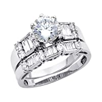 14K White Gold Ladies CZ Cubic Zirconia Wedding Engagement Ring Band Duo Sets - Size 6.5