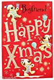 Centre Stage Cute Boyfriend Christmas Card Red & Spotty Dogs 10.75