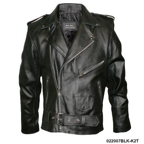 Mens Black Classic Leather Biker Brando Jacket K2T Size Size 48
