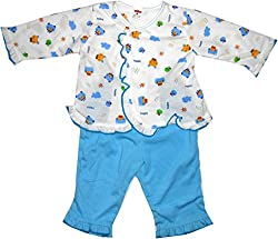 Bubbles Front Open Printed Dress For New Born (3-6 Months) (Blue)